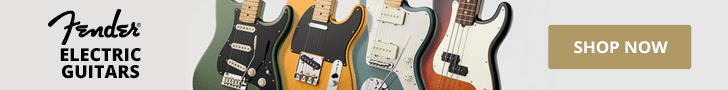 A row of four Fender guitars