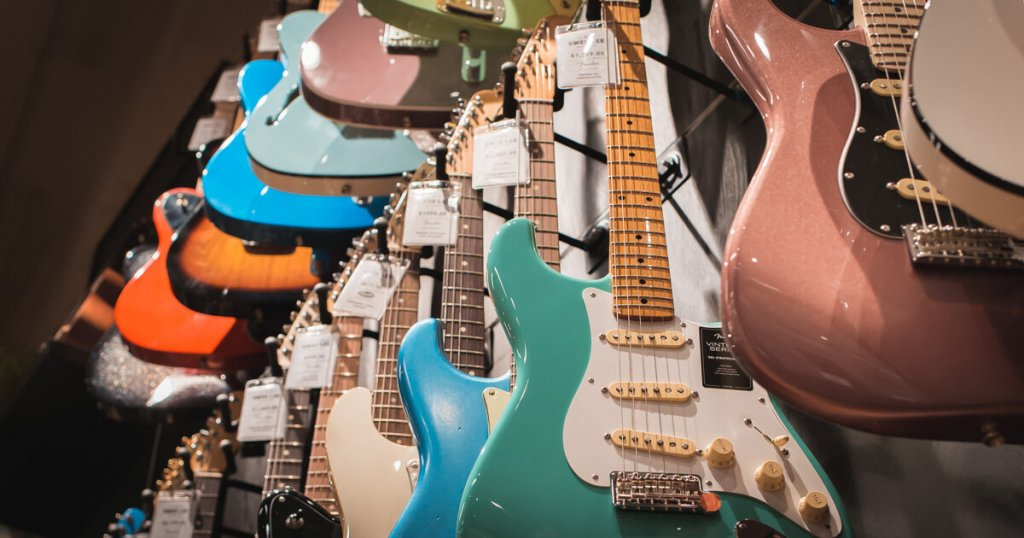 Fender Guitars on display in a music shop in Singapore