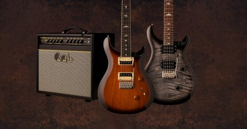 Two PRS Guitars and a PRS Guitar Amp