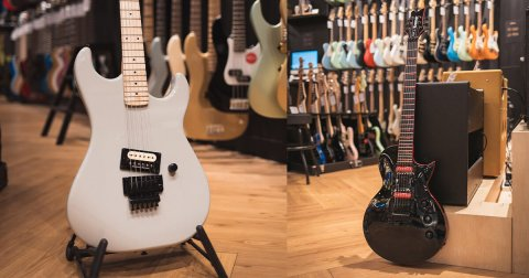 Two Kramer guitars in a music store in Singapore