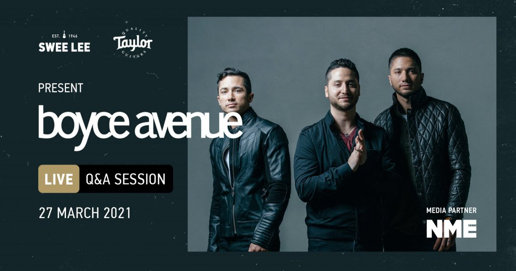 Picture of Alejandro, Fabian, and Daniel Manzano in a poster for Swee Lee and Taylor Guitars' Boyce Avenue Q&A Session