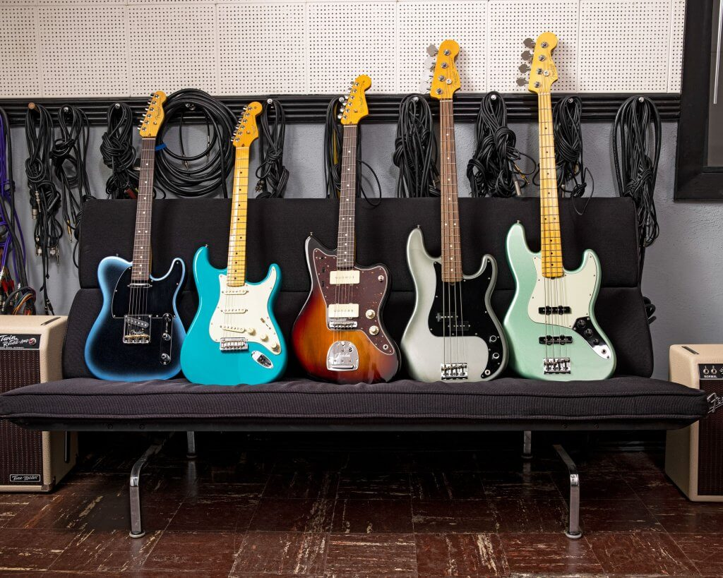 Fender Guitars on display on a couch