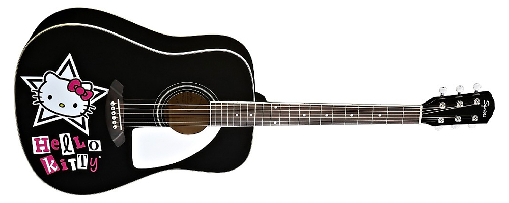 Squier Hello Kitty Dreadnought Acoustic Guitar, Black – basswood laminate top, rosewood fingerboard and bridge