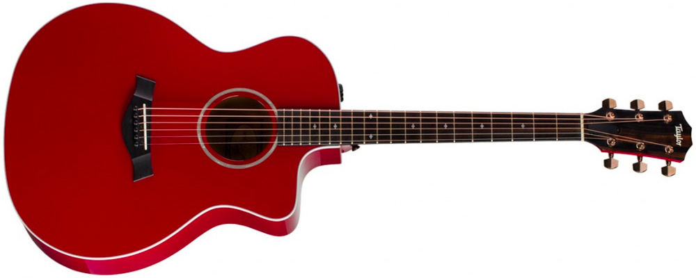 Taylor 214ce Deluxe Grand Auditorium Acoustic Guitar w/Case, Red –  Sitka Spruce (Top), Layered Koa (Body)