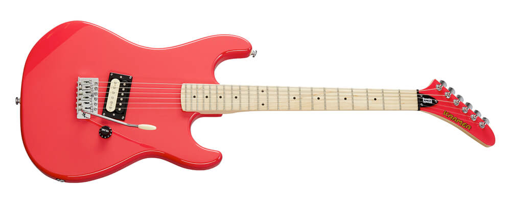 """Kramer Baretta Special Electric Guitar, Ruby Red – Mahogany body and neck, Alnico 5 """"zebra-coil"""" humbucker with a single volume control, and a Kramer Traditional tremolo."""