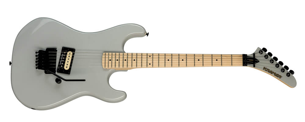 Kramer Baretta Vintage Electric Guitar, Pewter Gray – maple body, hard maple neck, a single Seymour Duncan® JB™ zebra-coil humbucker, and a Floyd Rose® 1000 series tremolo with a R2 1000 series locking nut.