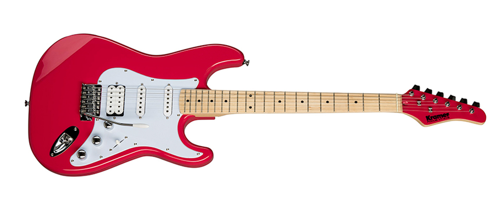Kramer Focus VT-211S Electric Guitar, Ruby Red – Mahogany body maple neck, two powerful Kramer Alnico 5 SC-1 single coil pickups, a Kramer Alnico 5 humbucker, a 5-way pickup selector switch, and a Kramer Traditional tremolo.