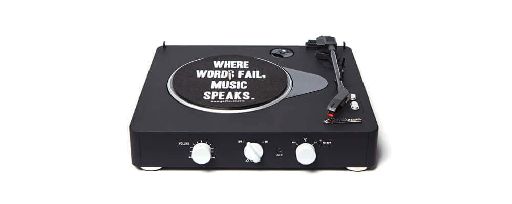 Gadhouse Brad Black Edition Turntable Record Player with Bluetooth 5.0, Black
