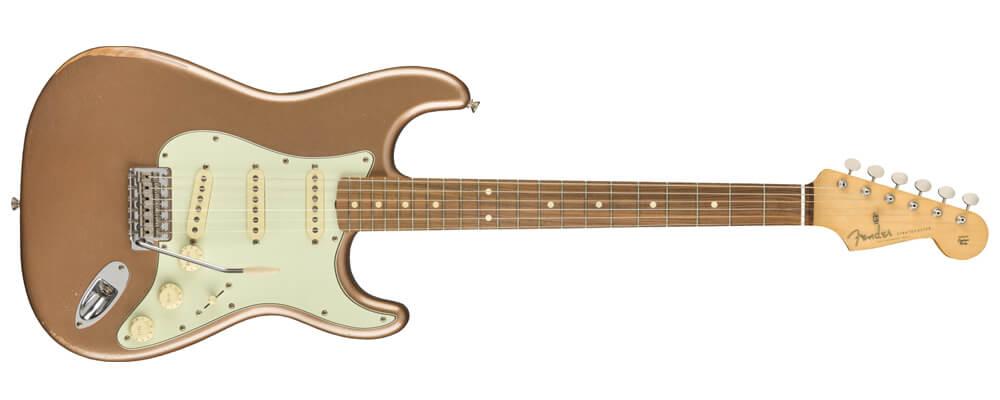 Fender Vintera Road Worn 60s Stratocaster Electric Guitar, PF FB, Firemist Gold