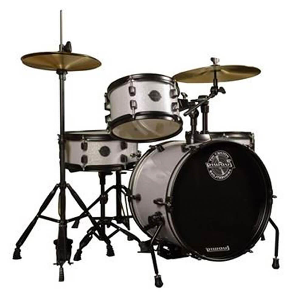Ludwig LC178X029DIR Pocket Kit 4-Piece Drum Kit with Hardware and Cymbals in White Sparkle