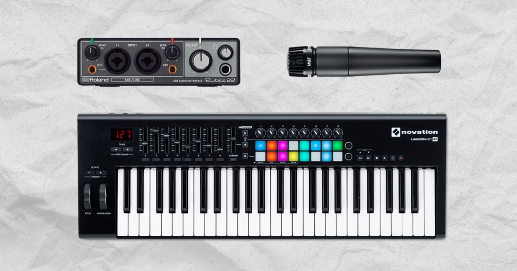 Roland Audio Interface, Shure Dynamic Microphone and a Novation MIDI keyboard