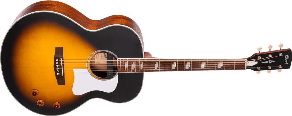 Cort CJ-Retro Jumbo Acoustic Guitar w/Gig Bag, Vintage Sunburst Matt Best Acoustic Guitars Under $500