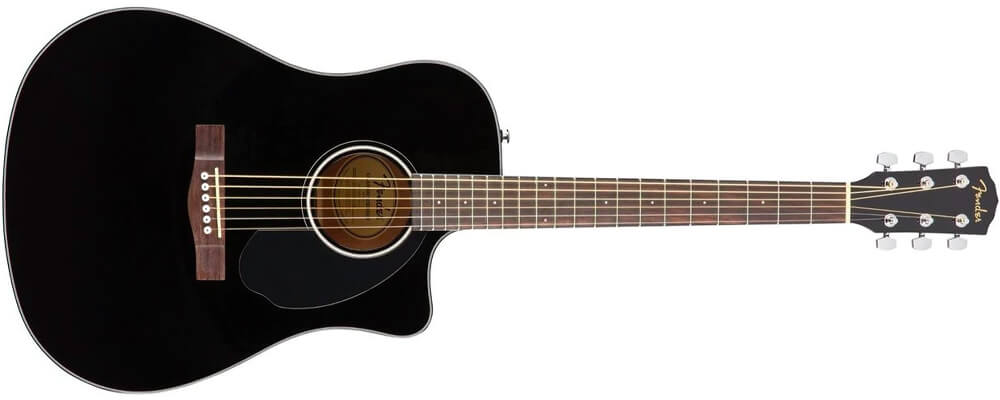 Fender CD-60SCE Dreadnought Acoustic Guitar, Walnut FB, Black Best Acoustic Guitars Under $500