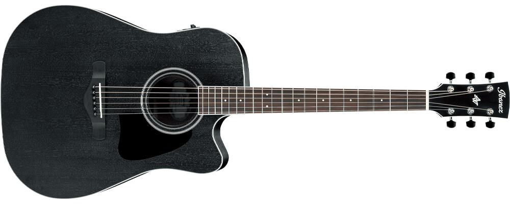 Ibanez Artwood AW84CE-WK Acoustic Guitar, Weathered Black